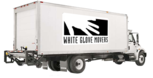 White Glove Movers Cedar Rapids moving truck with company logo on side.