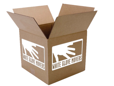 Moving box with White Glove Movers logo on the side.